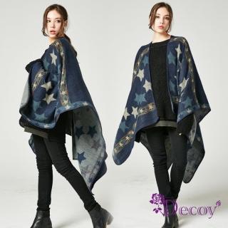 【Decoy】藍夜星辰*雙色加大保暖斗篷式披肩/藍