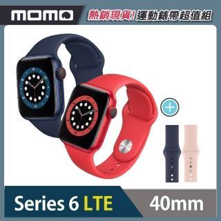 運動錶帶超值組【Apple 蘋果】Apple Watch Series6(S6) LTE 40mm 鋁金屬錶殼搭配運動錶帶