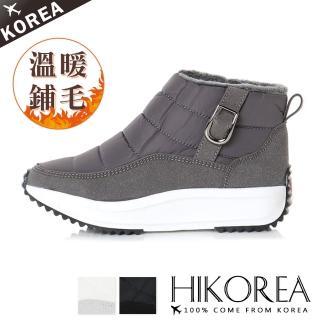 【HIKOREA】正韓製/版型偏小。女神推薦激瘦5公分內鋪毛防潑水短雪靴(71-3192灰/現貨)