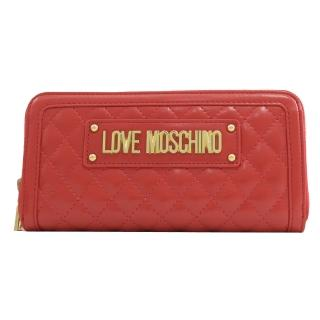 【MOSCHINO】LOVE MOSCHINO 菱格紋鉚釘拉鍊發財長夾(紅)