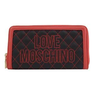 【MOSCHINO】LOVE MOSCHINO 刺繡菱格紋拉鍊發財長夾(黑紅)