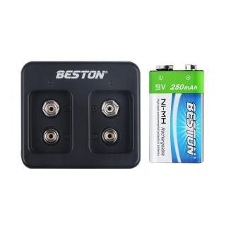 【BESTON】9V鎳氫電池雙槽充電器組(C-8006/充電式鎳氫電池)