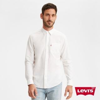 【LEVIS】男款 單口袋長袖襯衫 / 休閒版型 / 簡約白-人氣新品