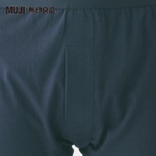 【MUJI 無印良品】男印度棉天竺前開平口褲(暗藍)
