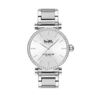【COACH】專櫃Madison系列簡約銀白小馬車logo不鏽鋼錶帶時尚腕錶(14503577)/
