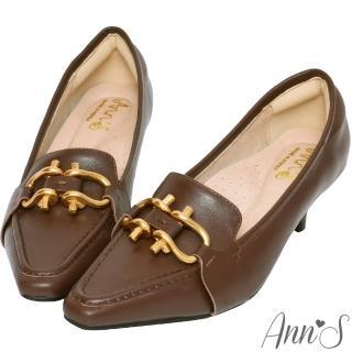 【Ann'S】古銅雙馬蹄扣真皮牛皮低跟包鞋5.5cm(咖)