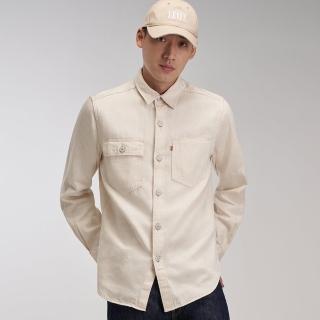 【LEVIS】Red 工裝手稿風復刻再造 男款 牛仔襯衫 / 休閒版型 / 海灘白 / 寒麻纖維