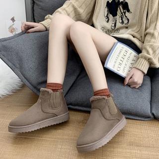 【LN】現貨 純色鬆緊加絨短筒雪靴(短靴/雪靴/靴子/保暖靴)