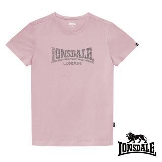 【LONSDALE 英國小獅】極簡植絨LOGO短袖T恤(櫻花粉LT003)