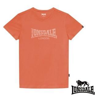【LONSDALE 英國小獅】極簡植絨LOGO短袖T恤(橘色LT003)