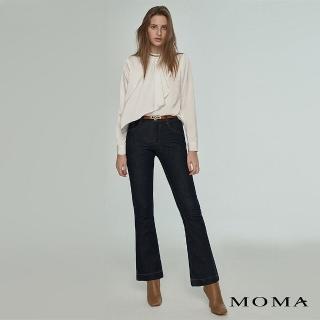 【MOMA】都會感丹寧小喇叭褲(深藍)/