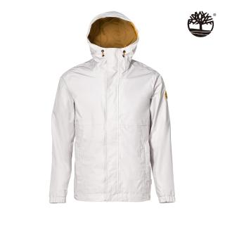 【Timberland】男款白沙色戶外經典可收納連帽外套(A2EYFBH7)/