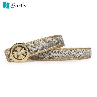 【Sarlisi】泰國新款皮帶男士真皮蟒蛇皮平滑扣正品商務腰帶