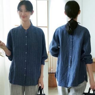 【設計所在】日本進口40支色織亞麻古條紋襯衫寬鬆外套