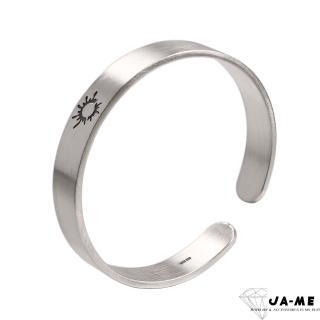 【JA-ME】999千足銀仿古磨砂太陽銀鐲(男款)