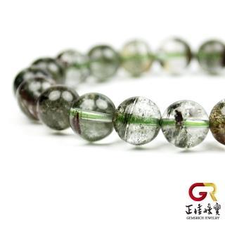 【正佳珠寶】綠幽靈 幻象幽靈金字塔圓珠手珠 9mm|日本彈力繩(幻象水晶綠幽靈)