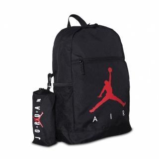 【NIKE 耐吉】後背包 Jordan Backpack 男女款 喬丹 飛人 運動休閒 附小包 外出 黑 紅(JD2113008GS-001)
