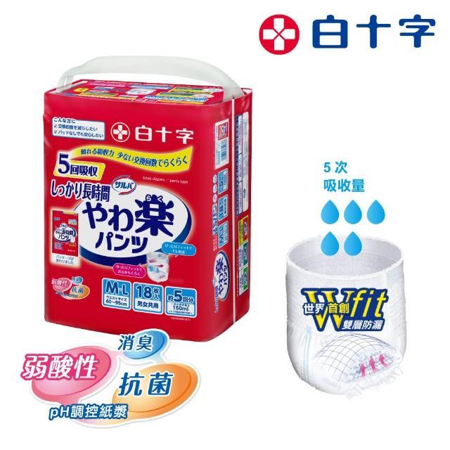 【白十字】全新雙層D超瞬吸防漏樂活褲M-L(箱購54片/18片x3包-日本原裝進口)/
