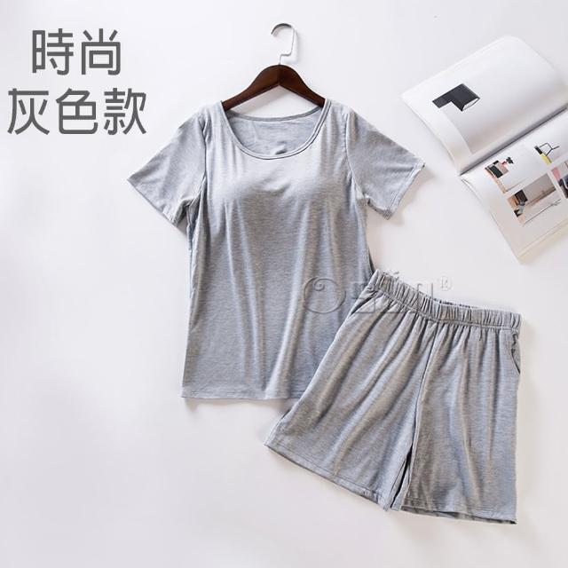 【Osun】Bra-T莫代爾帶胸墊短袖上衣寬鬆短褲睡衣套裝居家服(顏色任選-CE351)