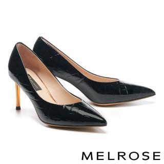 【MELROSE】極簡時尚金屬鍍跟尖頭高跟鞋(黑)/