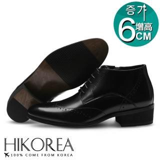 【HIKOREA】韓國空運/版型偏小。韓國男團最愛增高6CM素面雕花綁帶紳士高筒尖頭皮鞋(73-345黑/現+預)