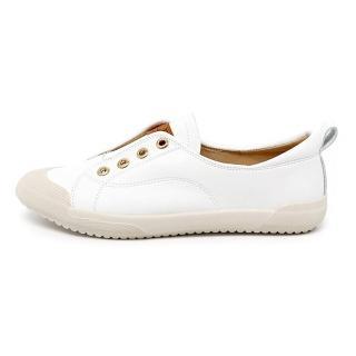 【HIKOREA】韓國空運/版型偏小。四季可穿免綁帶皮革懶人/小白鞋/包鞋(71-3223二色/現貨+預購)