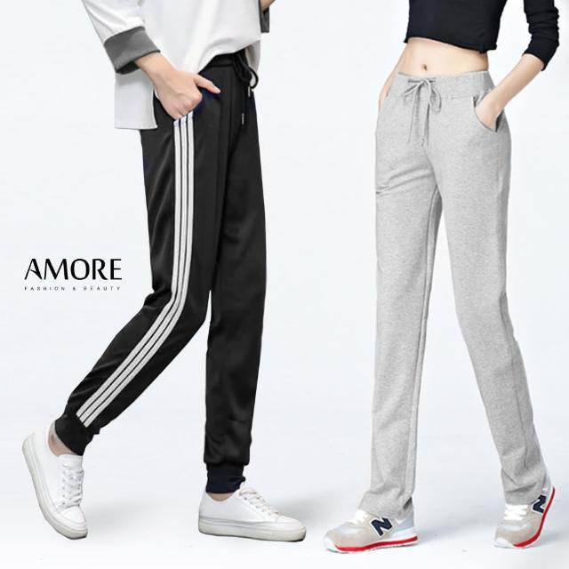 【Amore】日韓百搭棉質顯瘦休閒長褲(棉質舒適好穿)/