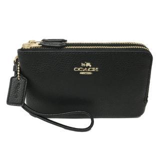 【COACH】經典LOGO L型雙層拉鍊手拿零錢包(多色選一)