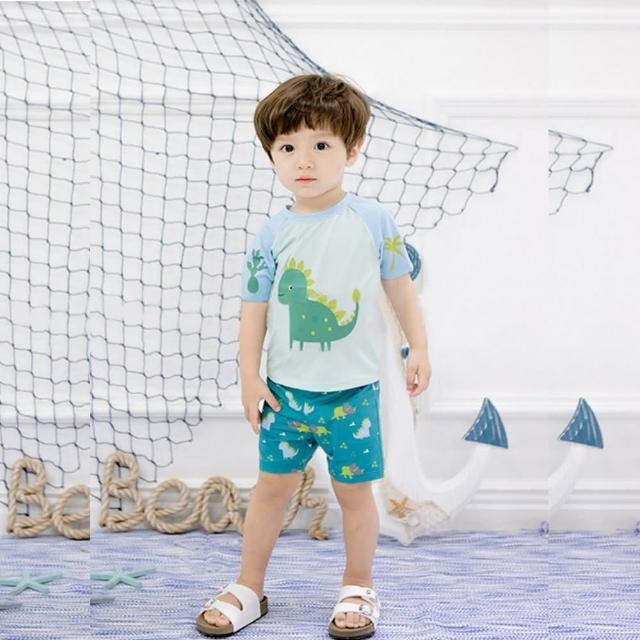 【泳衣果】兒童泳裝S-3L黃尾俏龍短袖小朋友游泳衣附帽