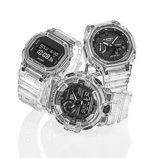 【CASIO 卡西歐】G-SHOCK 白透色系列方形200米計時錶(DW-5600SKE-7)