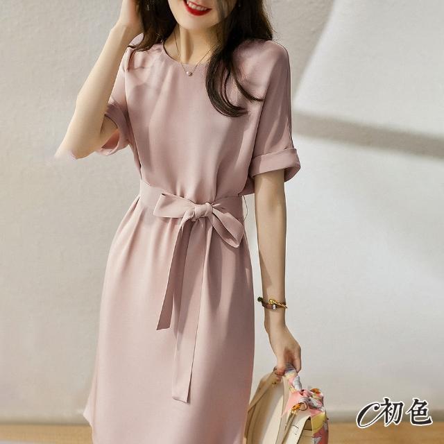 【初色】氣質收腰純色洋裝-粉紅色-98708(M-2XL可選)/