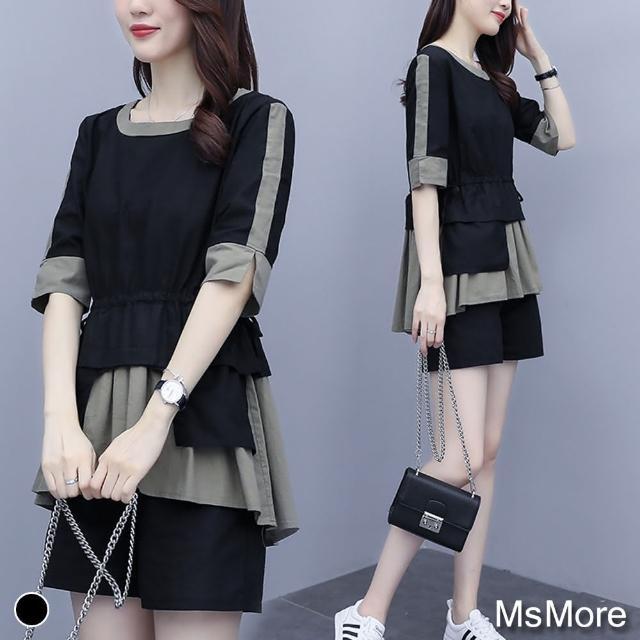 【MsMore】俏麗佳人拼接假2件式短褲套裝#107542現貨+預購(2款任選)/