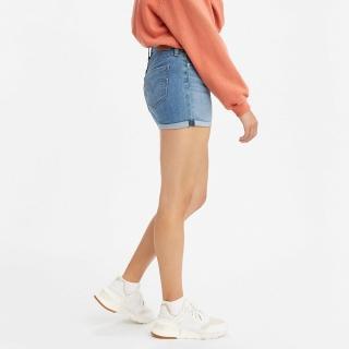 【LEVIS】女款 中腰修腿牛仔短褲 / 中藍基本款 / 彈性布料-熱銷單品