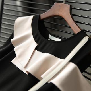 【初色】荷葉邊側露肩洋裝-黑色-98736(M-2XL可選)