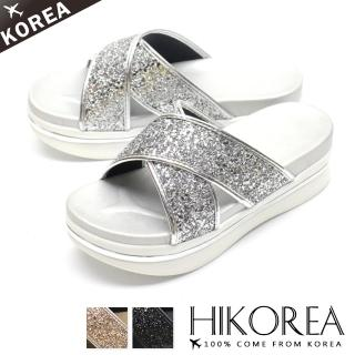 【HIKOREA】韓國空運/版型正常。交叉亮片激瘦5CM厚底美體涼拖鞋(71-3236三色/現貨+預購)