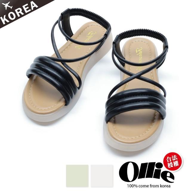 【OLLIE】韓國空運/版型偏小。美學配色線條軟Q厚底止滑涼拖鞋(72-0757三色/現貨+預購)/
