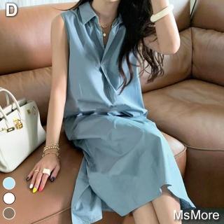 【ACheter】日本純色高腰大裙襬棉麻背心寬鬆長洋裝#109164+109203現貨+預購(4款任選)