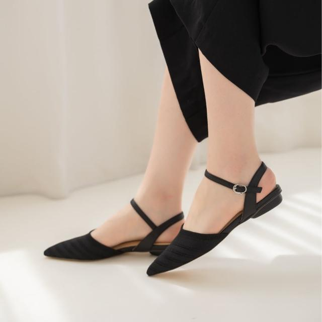 【WYPEX】尖頭針織低跟涼鞋
