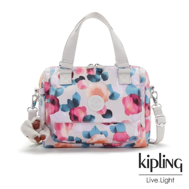 【KIPLING】繽紛夢幻花繪手提兩用斜背包-SUGAR