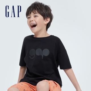 【GAP】男童 Logo純棉圓領短袖T恤(979502-黑色)