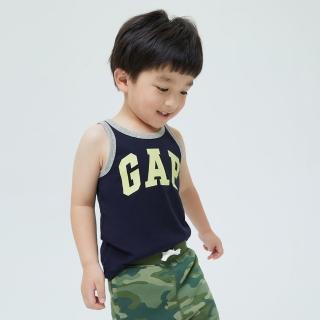 【GAP】男幼童 布萊納系列 Logo撞色純棉運動背心(701453-藏青色)