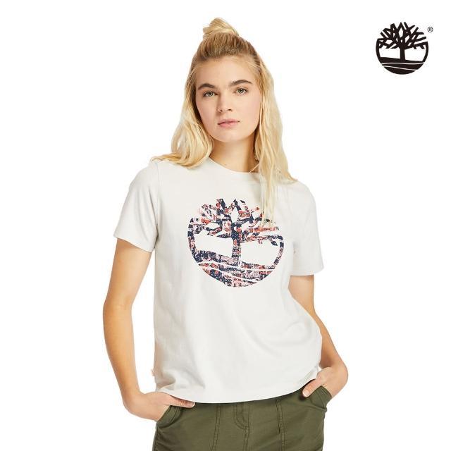 【Timberland】女款白沙色點狀樹型LOGOT恤(A2FDQBH7)/