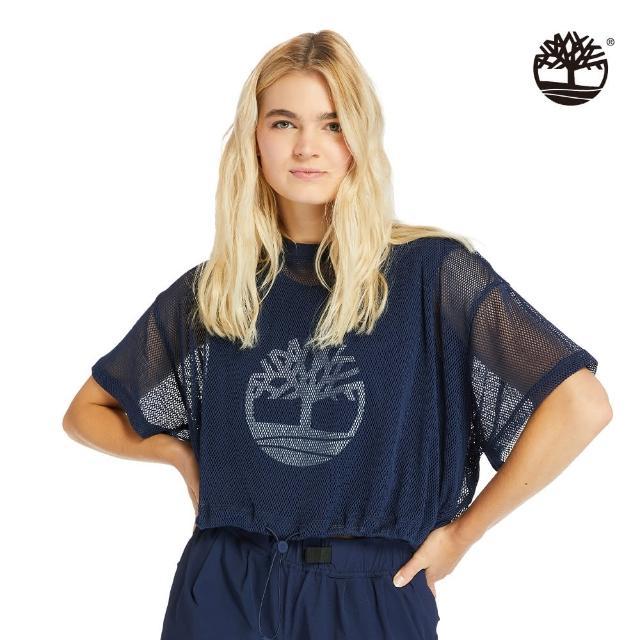 【Timberland】女款海軍藍大樹LOGO短版T恤(A2CRV451)/