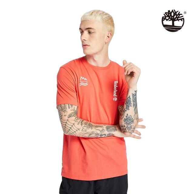 【Timberland】男款珊瑚紅拼接特色印花短袖T恤(A2DVC801)/