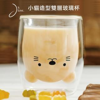 【JsLove皆樂】小貓造型雙層玻璃杯(耐熱/泡茶杯/水杯)