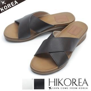 【HIKOREA】正韓製/版型正常。交叉簡約皮革撞色厚底涼拖鞋(71-3287三色/現貨+預購)