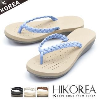 【HIKOREA】韓國空運/版型正常。夾腳立體編織多色楔型厚底涼拖鞋(71-3289四色/現貨+預購)