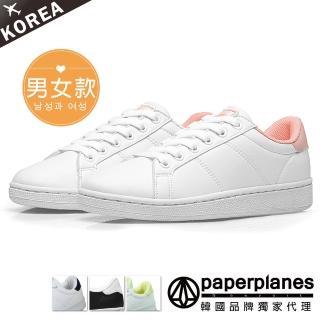 【Paperplanes】韓國空運/正常版型。微醺日常馬卡龍綁帶情侶小白休閒鞋(7-1493粉白/現+預)