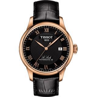 【TISSOT 天梭】天梭 Le Locle 80小時機械錶-黑x玫塊金框/ 39mm(T0064073605300)