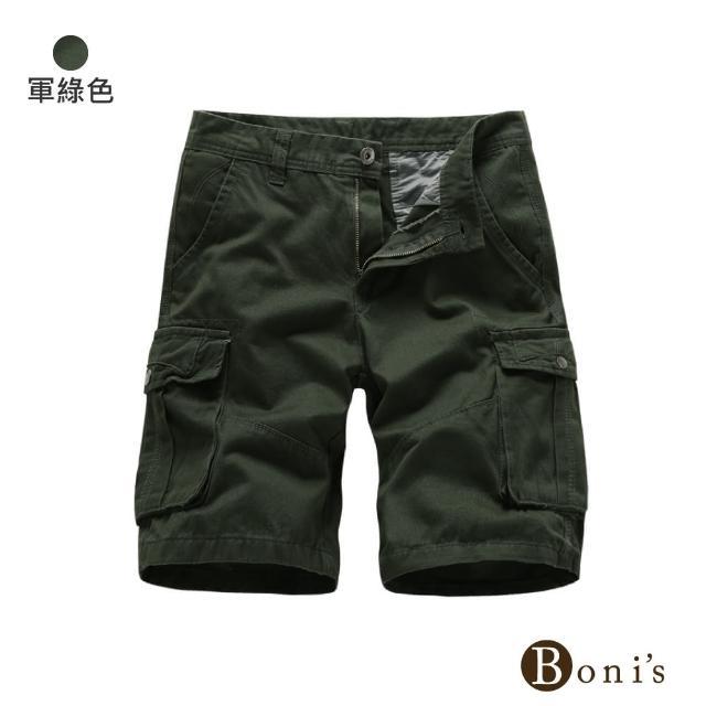 【Boni's】男士純棉工裝休閒短褲 M-3XL(現+預  黑色 / 卡其色 / 灰色 / 深藍色 / 軍綠色)